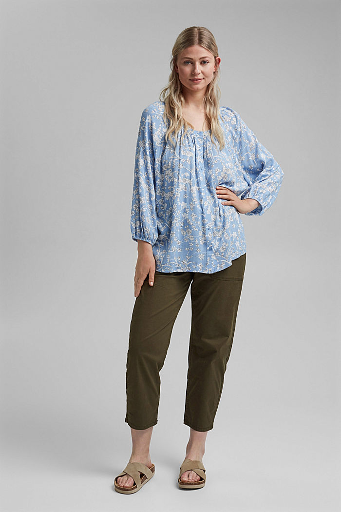 CURVY Print-Bluse aus LENZING™ ECOVERO™, LIGHT BLUE, detail image number 1