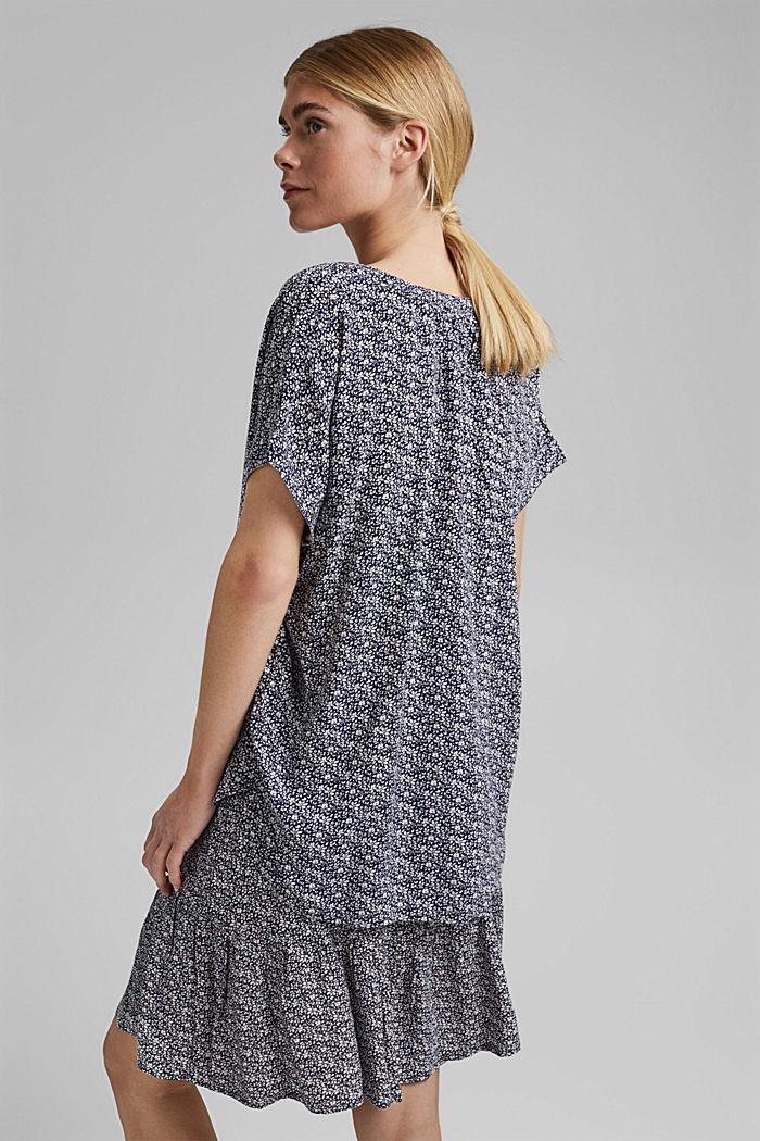 Top façon blouse à motif fleuri en LENZING™ ECOVERO™, NAVY, detail image number 3