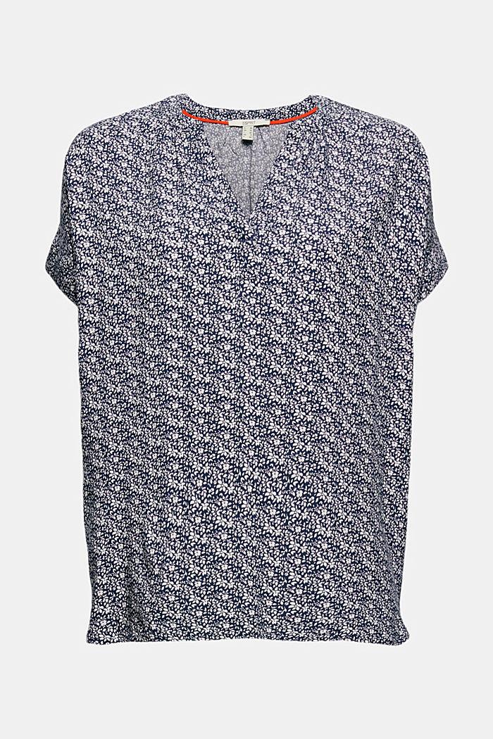 Top façon blouse à motif fleuri en LENZING™ ECOVERO™, NAVY, detail image number 7