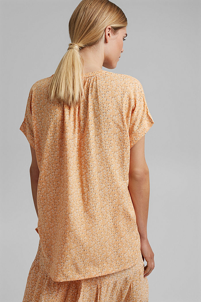 Floral blouse top made of LENZING™ ECOVERO™, ORANGE RED, detail image number 3