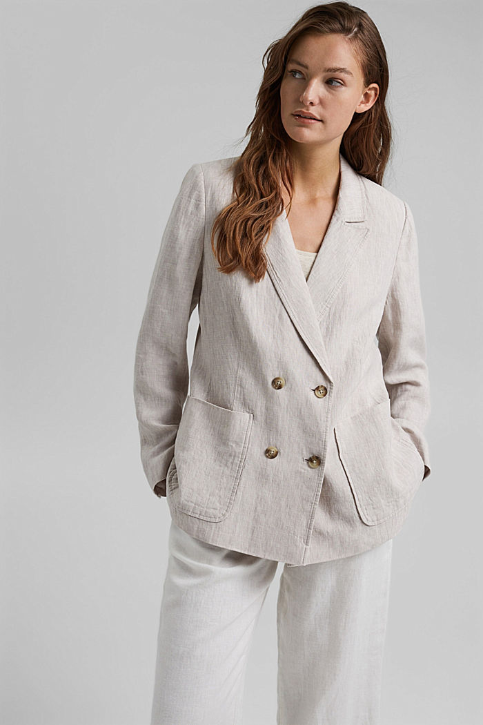 Made of linen: double-breasted blazer