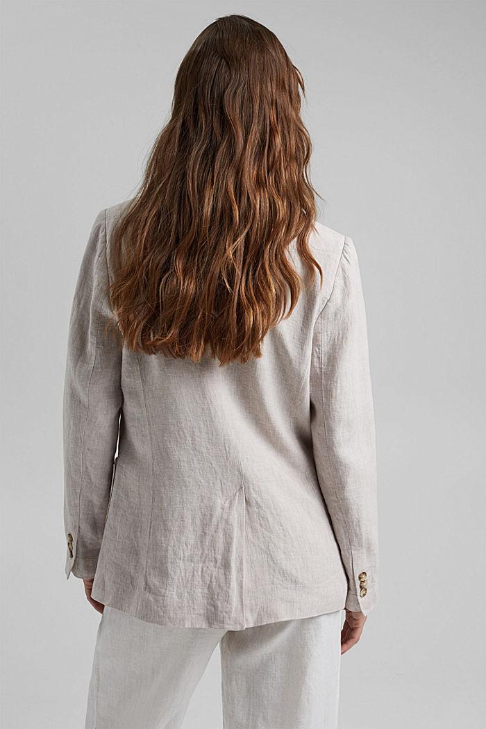 En lin: le blazer croisé, LIGHT BEIGE, detail image number 3