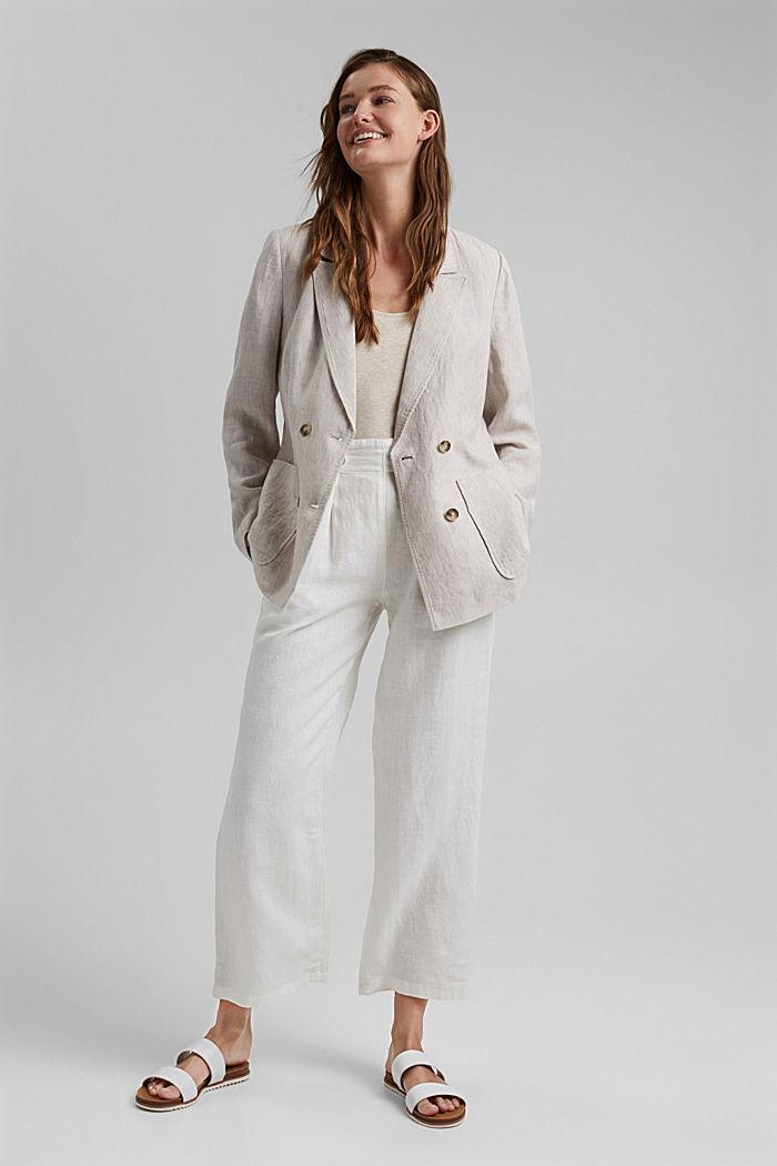 En lin: le blazer croisé, LIGHT BEIGE, detail image number 1