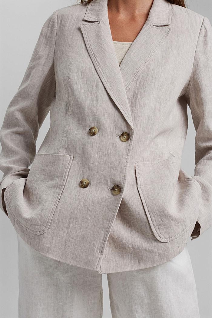 En lin: le blazer croisé, LIGHT BEIGE, detail image number 2