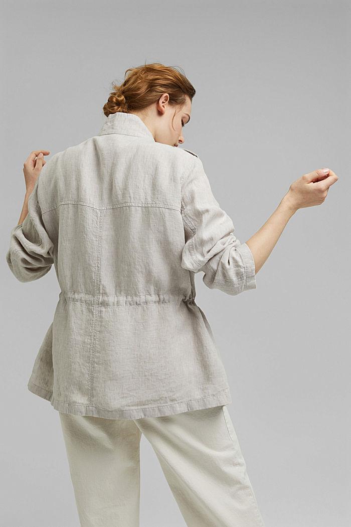 CURVY linen field jacket, LIGHT BEIGE, detail image number 3