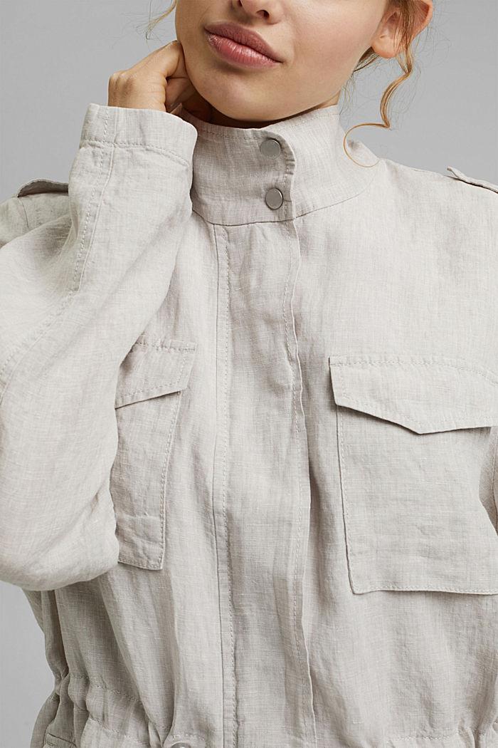 CURVY linen field jacket, LIGHT BEIGE, detail image number 2