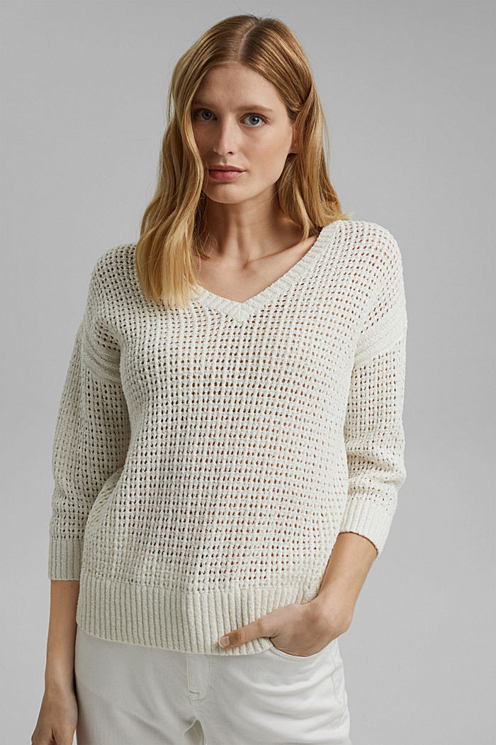 Pointelle jumper made of organic cotton, OFF WHITE, detail image number 0