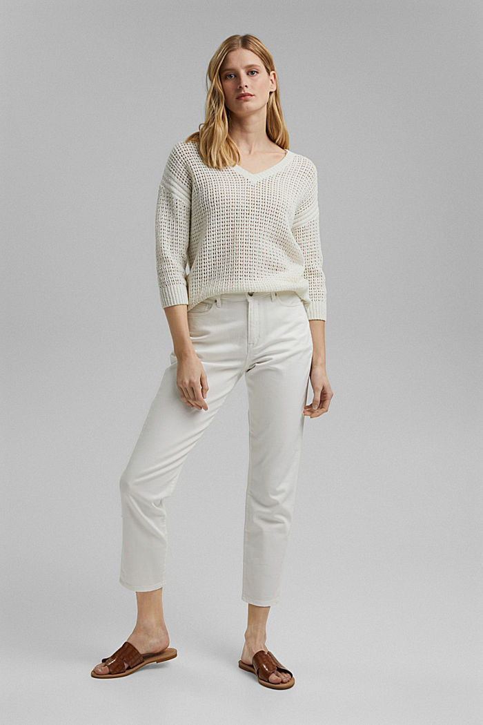 Pointelle jumper made of organic cotton, OFF WHITE, detail image number 1