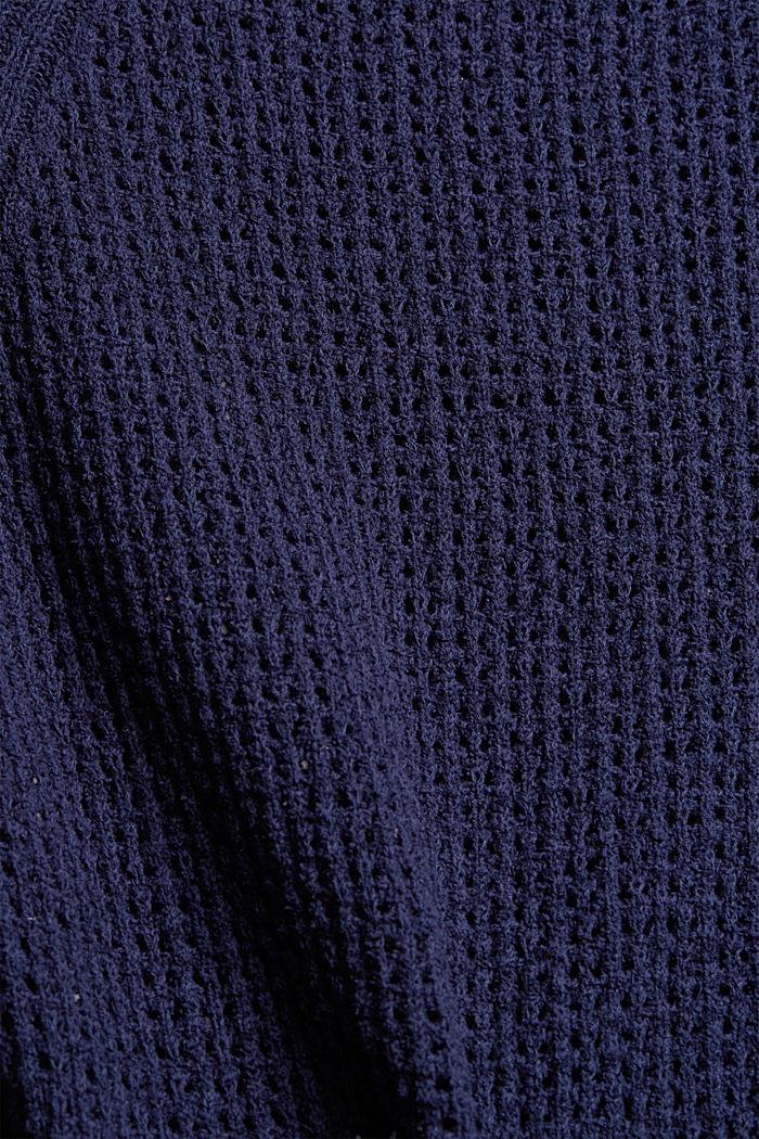 Trui met korte mouwen van biologisch katoen, NAVY, detail image number 4
