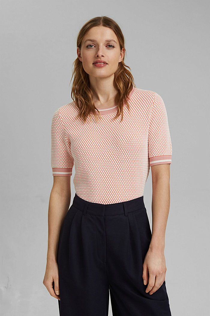 Two-tone short-sleeved jumper with a textured pattern