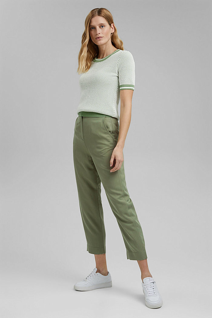 Two-tone short-sleeved jumper with a textured pattern, LEAF GREEN, detail image number 1