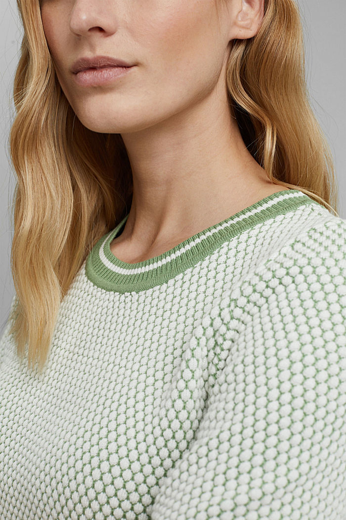 Two-tone short-sleeved jumper with a textured pattern, LEAF GREEN, detail image number 2