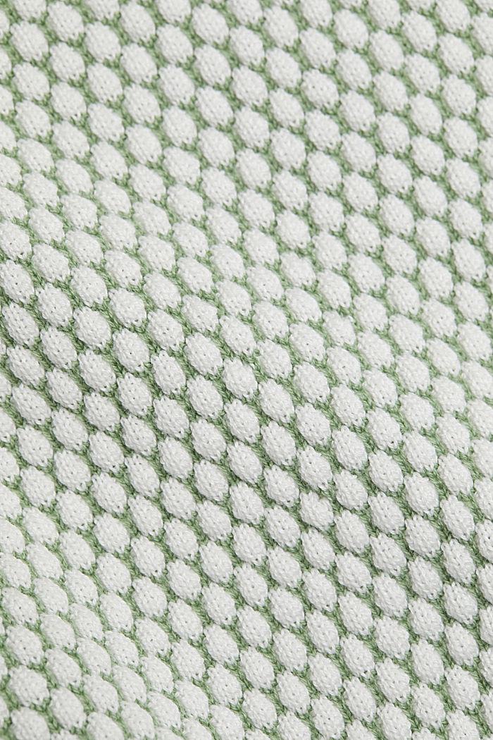 Two-tone short-sleeved jumper with a textured pattern, LEAF GREEN, detail image number 4