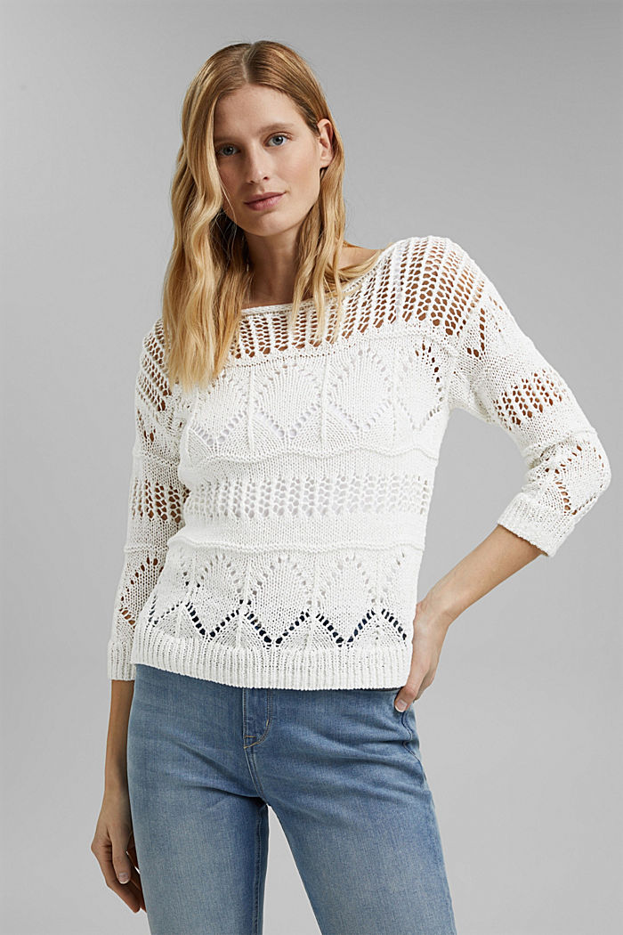 Openwork jumper made of ribbon yarn, OFF WHITE, detail image number 0