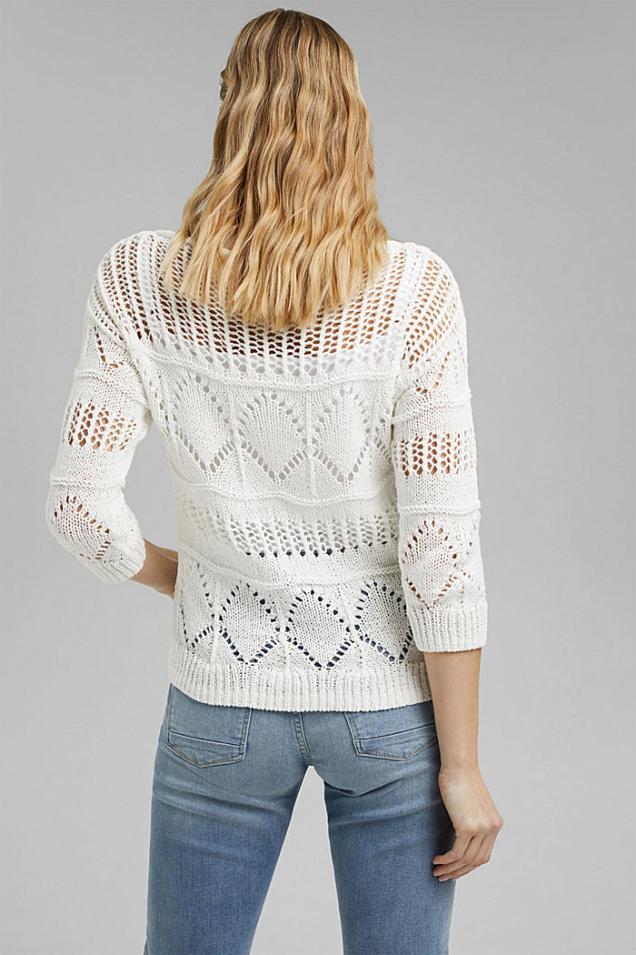 Openwork jumper made of ribbon yarn, OFF WHITE, detail image number 3
