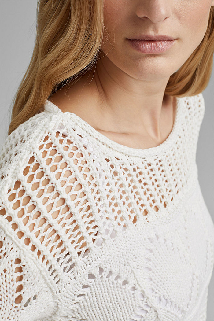 Openwork jumper made of ribbon yarn, OFF WHITE, detail image number 2