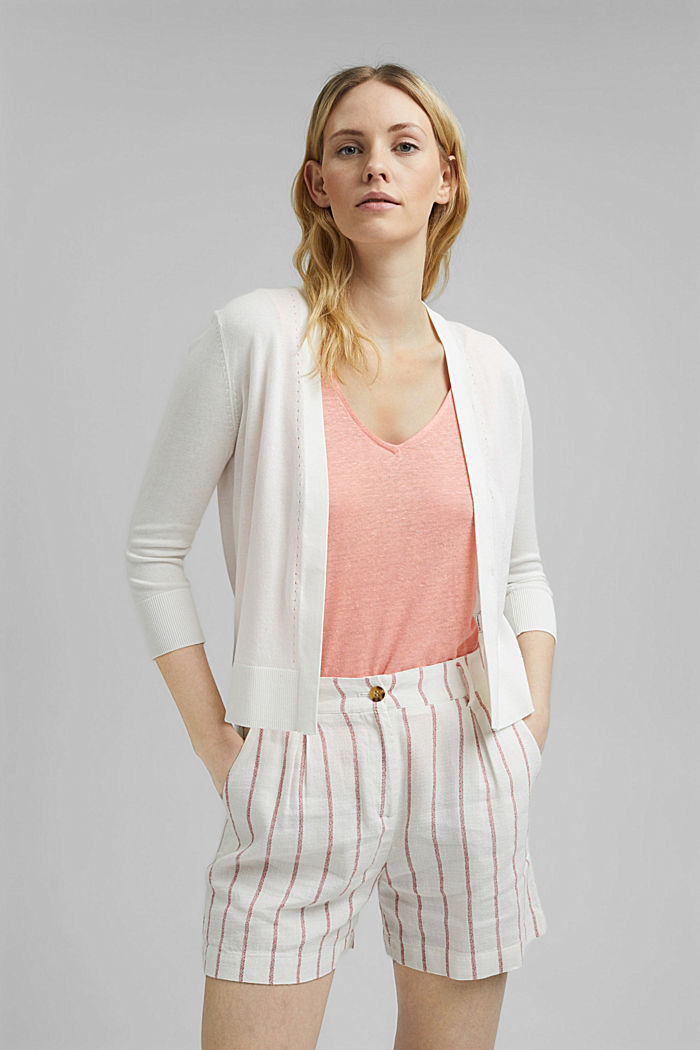 Open cardigan made of 100% organic cotton, OFF WHITE, detail image number 0