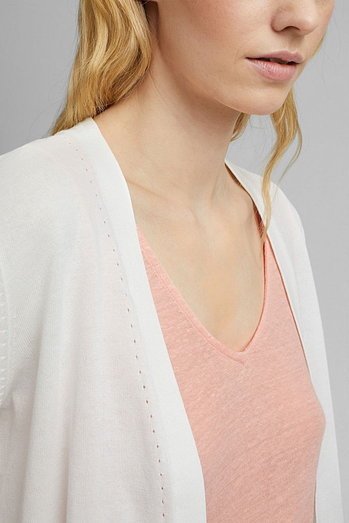 Open cardigan made of 100% organic cotton, OFF WHITE, detail image number 2
