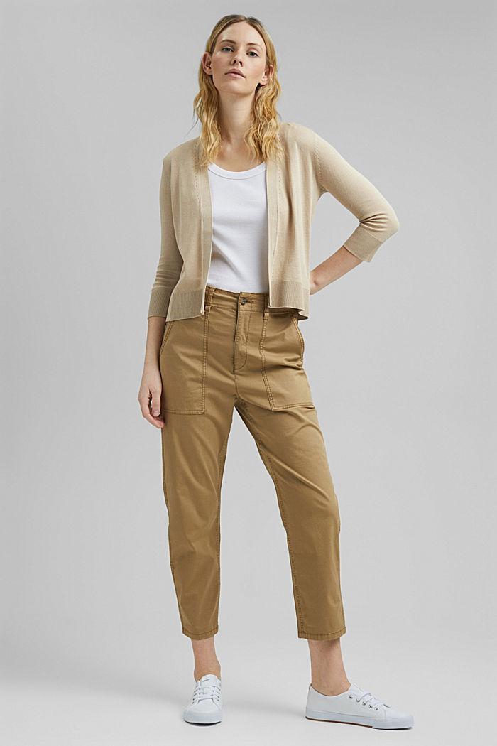 Cardigan ouvert, 100% coton biologique, SAND, detail image number 1