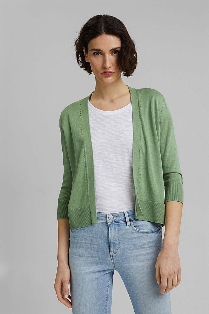 Offener Cardigan aus 100% Bio-Baumwolle, LEAF GREEN, detail image number 0