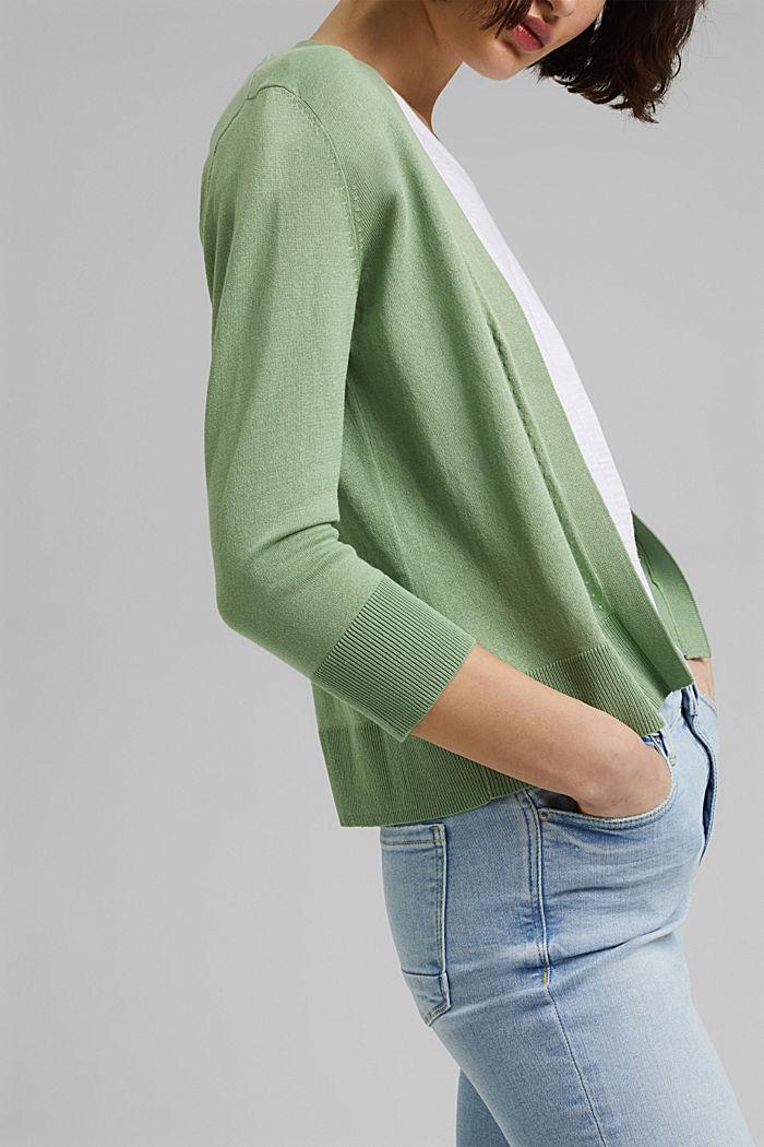 Offener Cardigan aus 100% Bio-Baumwolle, LEAF GREEN, detail image number 2