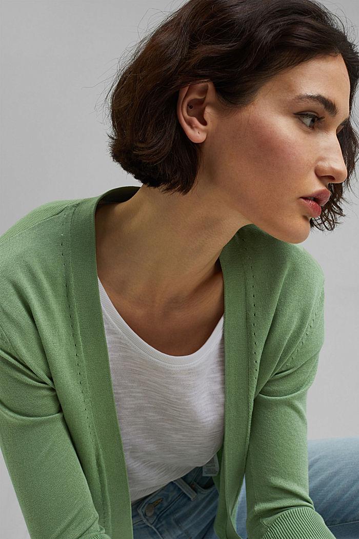 Offener Cardigan aus 100% Bio-Baumwolle, LEAF GREEN, detail image number 5