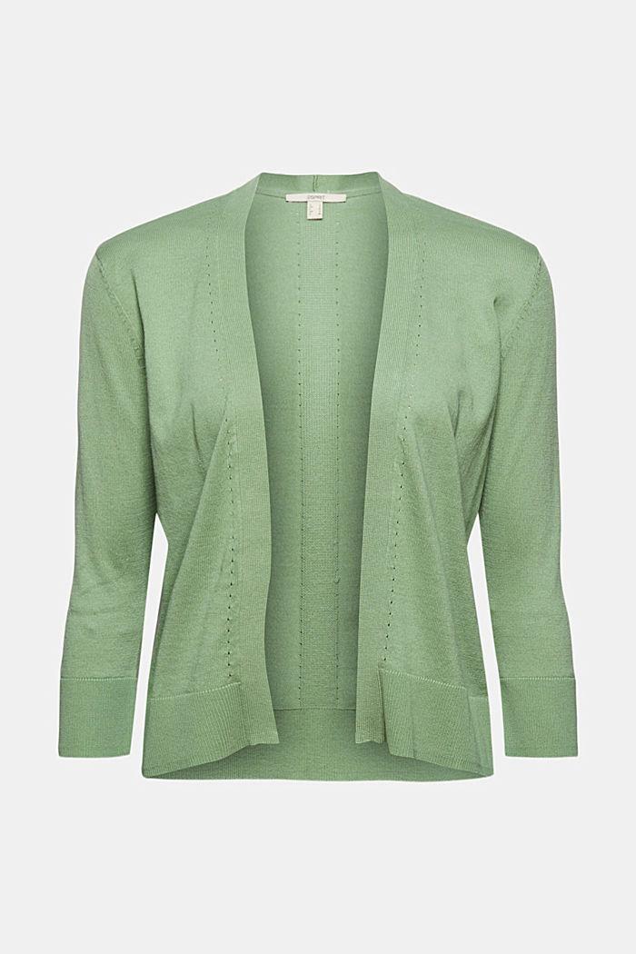 Offener Cardigan aus 100% Bio-Baumwolle, LEAF GREEN, detail image number 6