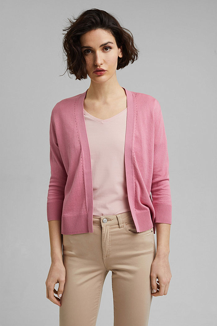 Open cardigan made of 100% organic cotton, PINK, detail image number 0