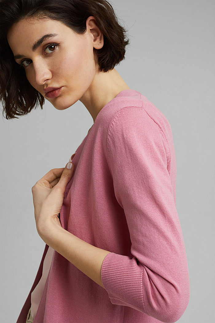 Open cardigan made of 100% organic cotton, PINK, detail image number 5