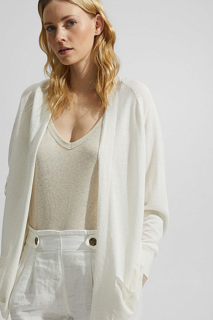 With linen: open basic cardigan