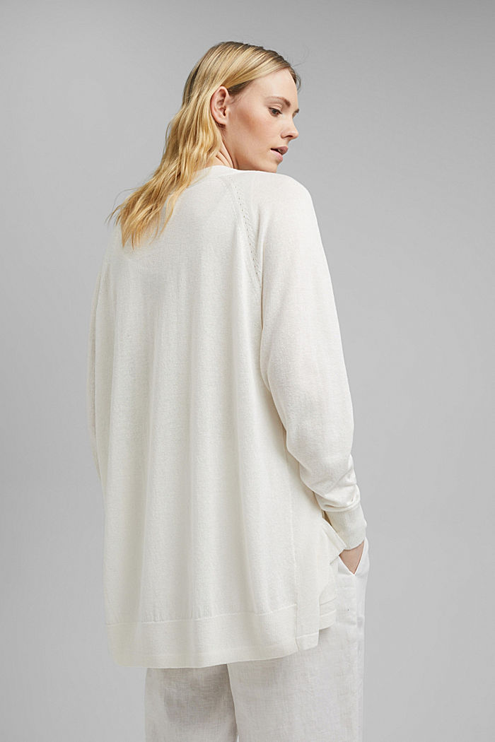With linen: open basic cardigan, OFF WHITE, detail image number 3
