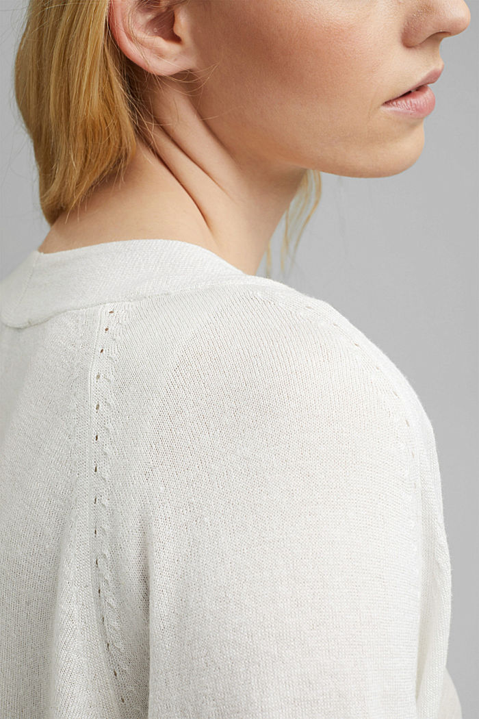 With linen: open basic cardigan, OFF WHITE, detail image number 2
