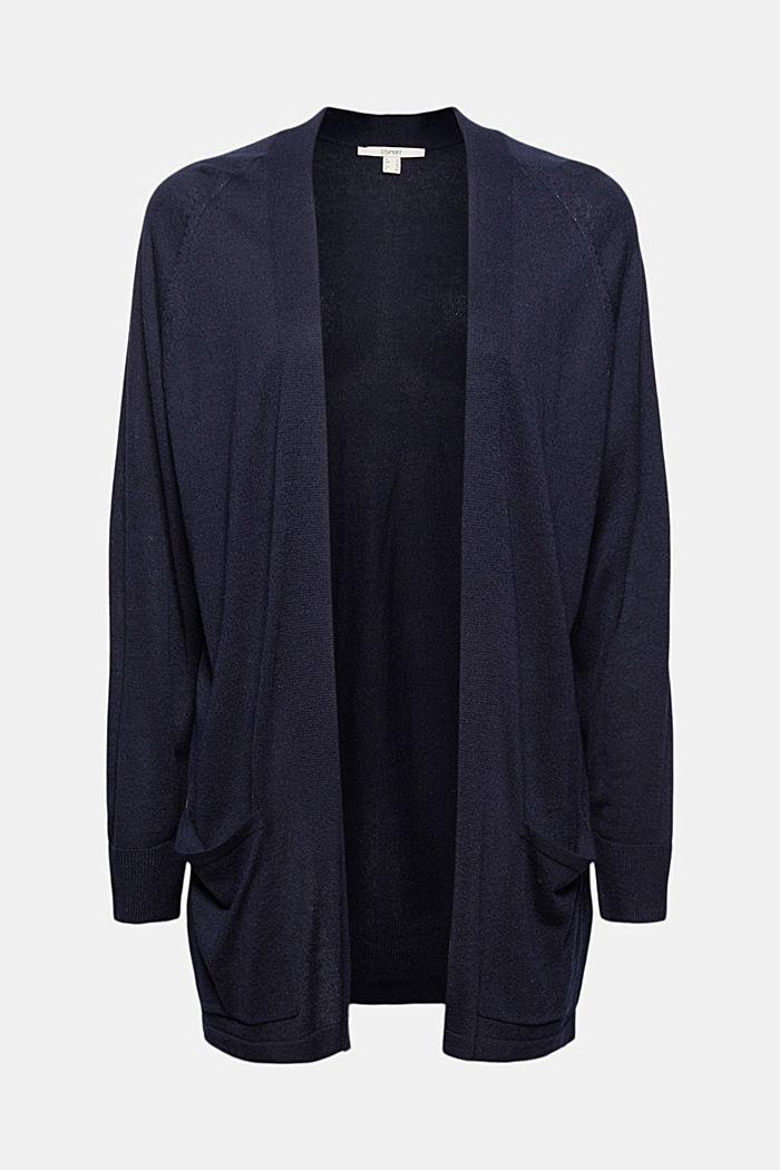 Mit Leinen: offener Basic Cardigan, NAVY, detail image number 5