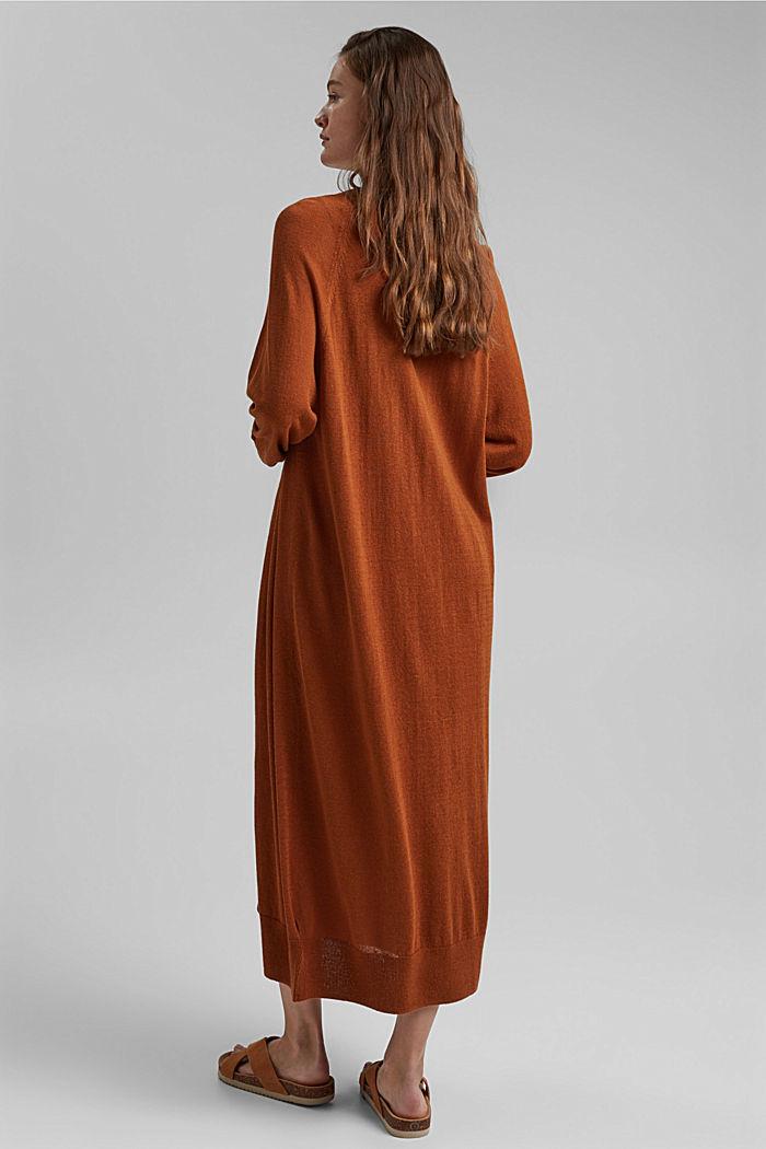 Linen blend: long, open-fronted cardigan, CARAMEL, detail image number 3