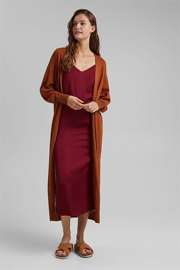 Linen blend: long, open-fronted cardigan, CARAMEL, detail image number 1