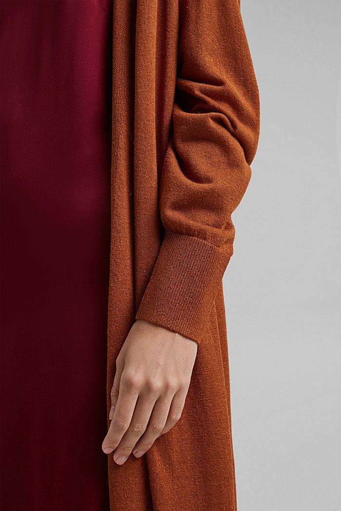 Linen blend: long, open-fronted cardigan, CARAMEL, detail image number 2