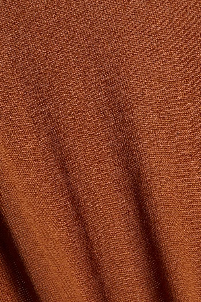 Linen blend: long, open-fronted cardigan, CARAMEL, detail image number 4
