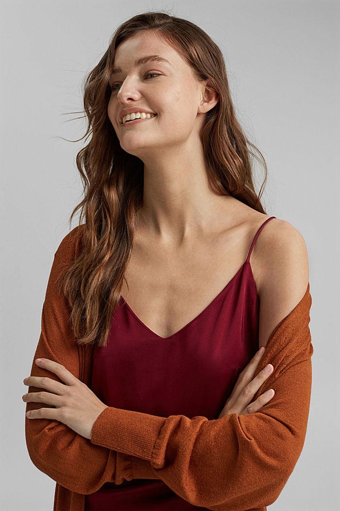 Linen blend: long, open-fronted cardigan, CARAMEL, detail image number 5