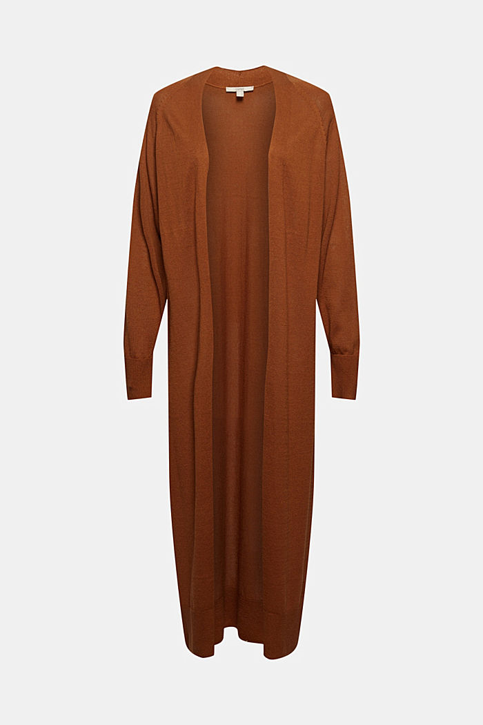 Linen blend: long, open-fronted cardigan