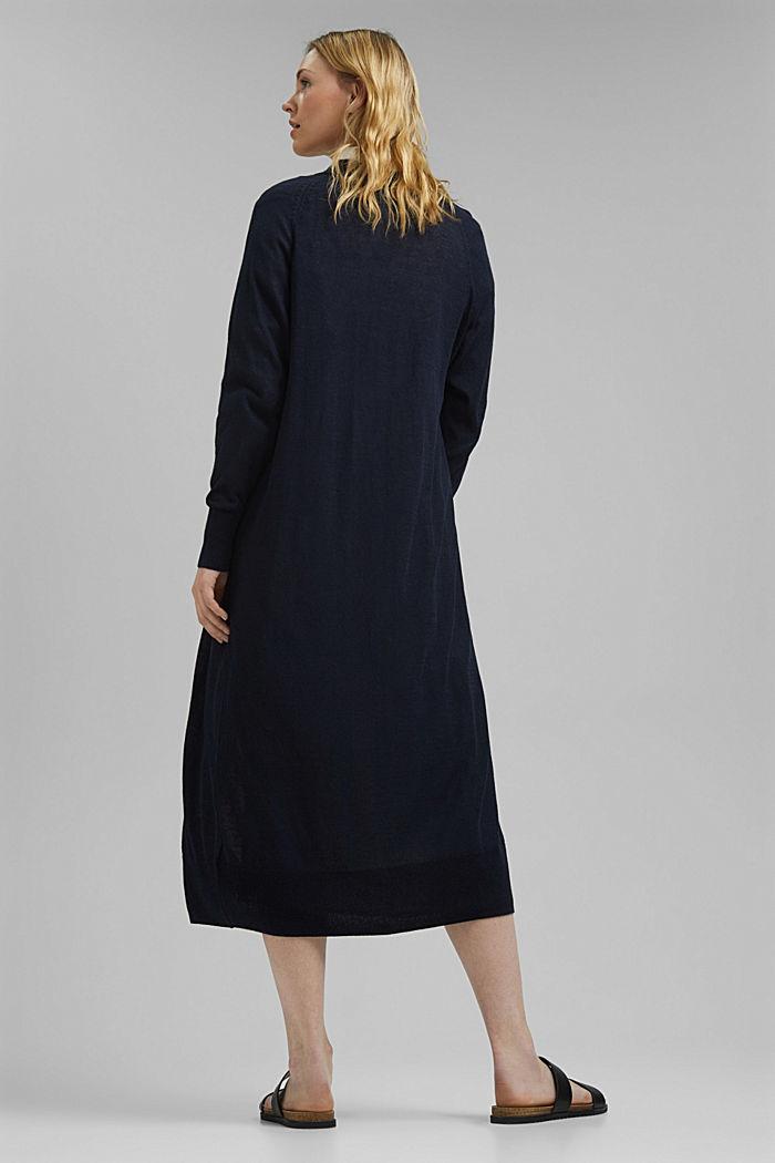 Linen blend: long, open-fronted cardigan, NAVY, detail image number 3