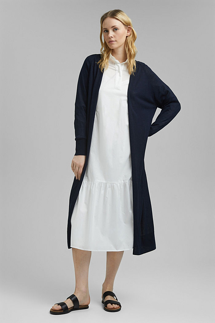 Linen blend: long, open-fronted cardigan, NAVY, detail image number 1