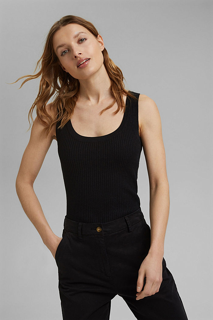 Con lino: top in maglia a coste, BLACK, detail image number 0