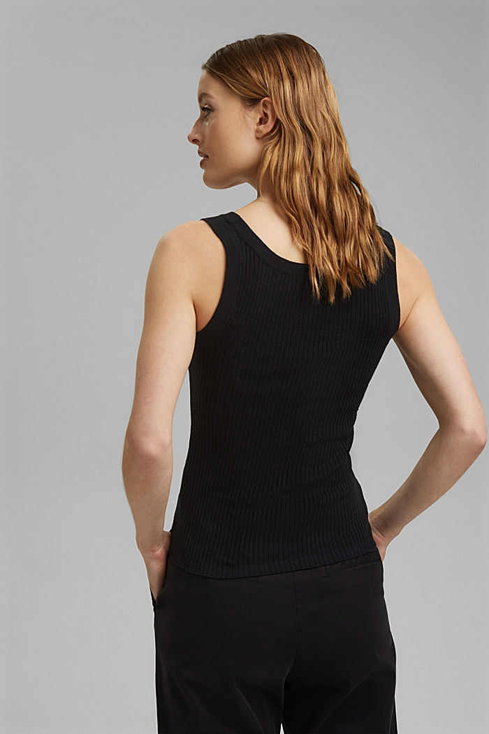 Con lino: top in maglia a coste, BLACK, detail image number 3