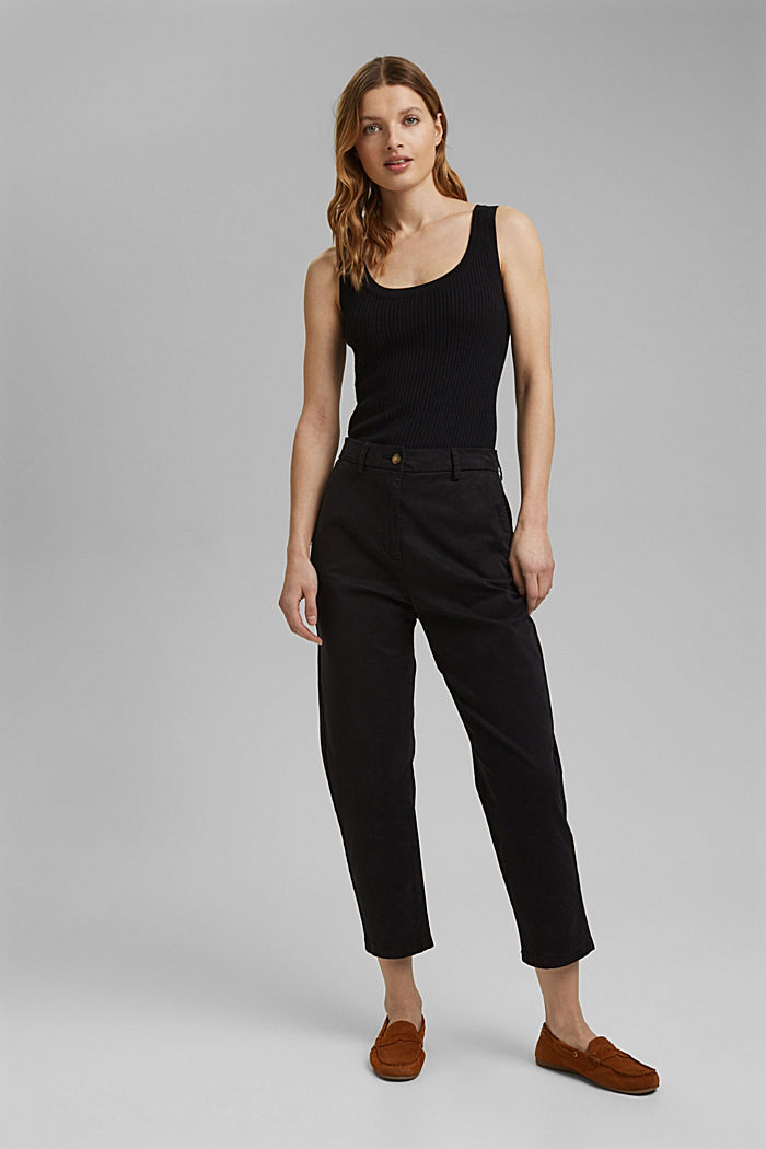Con lino: top in maglia a coste, BLACK, detail image number 6