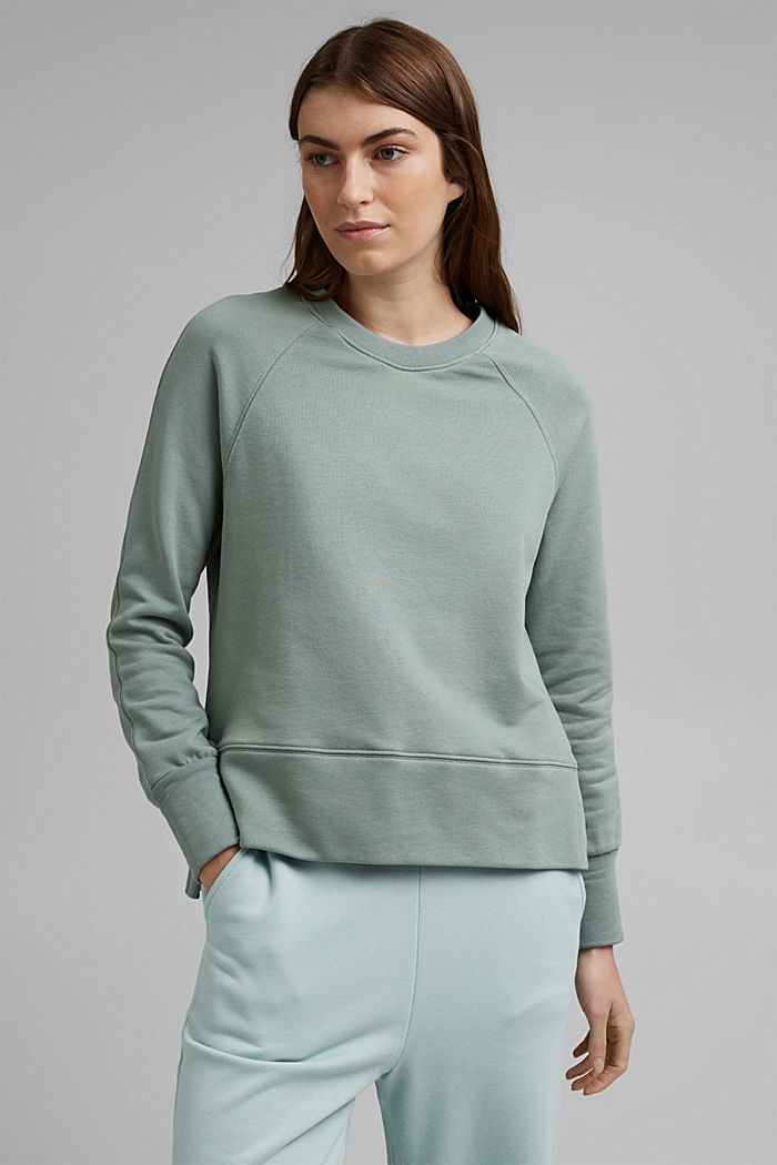Sweatshirt with a high-low hem, 100% cotton, TURQUOISE, detail image number 0