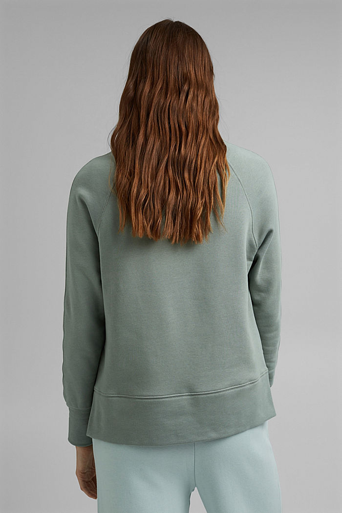 Sweatshirt with a high-low hem, 100% cotton, TURQUOISE, detail image number 3