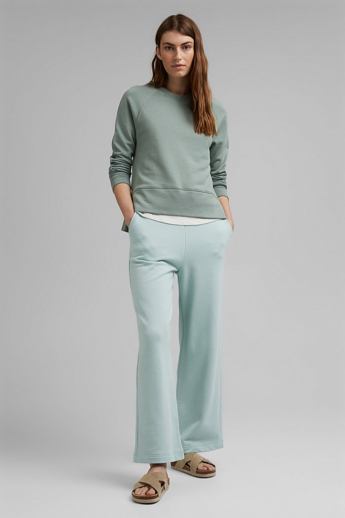 Sweatshirt with a high-low hem, 100% cotton, TURQUOISE, detail image number 1