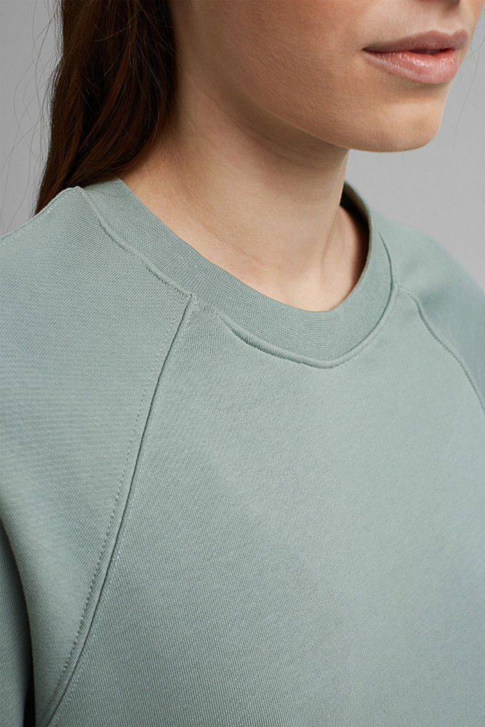 Sweatshirt with a high-low hem, 100% cotton, TURQUOISE, detail image number 2