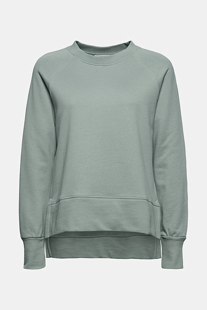 Sweatshirt with a high-low hem, 100% cotton, TURQUOISE, detail image number 6