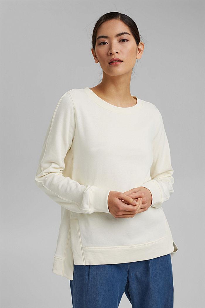 Sweatshirt mit Schlitzen, Organic Cotton, OFF WHITE, detail image number 0